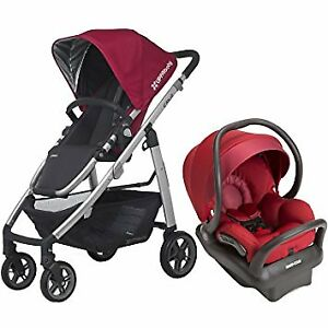 Uppababy Cruz stroller with Peg-Perego car seat-adapter.