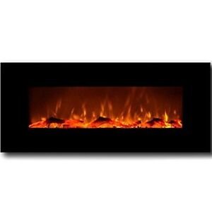 "$249   50"" WALL MOUNTED ELECTRIC FIREPLACE BLACK"
