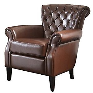 Franklin Bonded Leather Club Chair, Brown ! IN THE BOX !