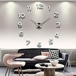 Large 3D Frameless DIY Wall Clock Stickers Wall Decoration Silver Decor SOLEDI