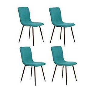 NEW HomyCasa Dining CHair Set Dining Room Chairs Eiffel Fabric Style Side Chair with metal legs (Green 1) Condtion: N...
