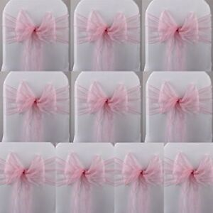 PINK ORGANZA CHAIR SASHES FOR RENT