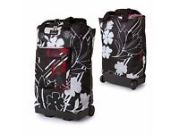 FOLDING FLAT WHEELIE shopping bag trolley black red floral