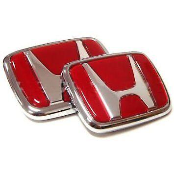 2pcs RED Honda Badge Emblem Front+Rear H Logo JDM Civic Accord Prelude CRX NEW