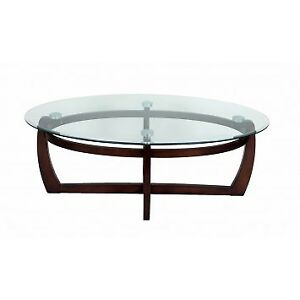Brand New in box Birch finished glass oval coffee table