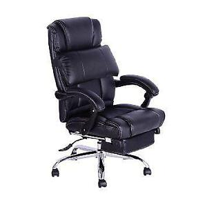 Luxury high class leather Executive Reclining Office Chair w/ Footrest
