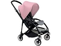 Good Condition Bugaboo Bee Plus, Black Frame, Pink Canopy + Footmuff + Extra Black Canopy