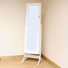 Hartleys Floor Standing Bedroom Mirror & Jewellery Cabinet White