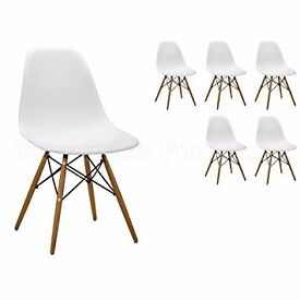 6 Brand New White Eames DSW Dining Chairs - Free Delivery