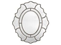 Venetian Silver Frame Oval Mirror with Decorative Edge