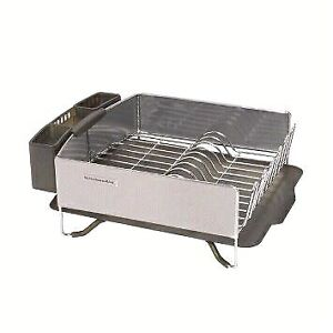 Stainless steel dish drying rack with drain board