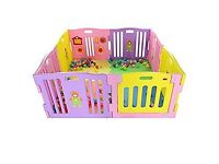 Pink and yellow playpen