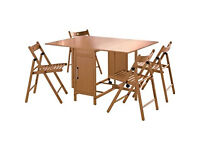 Butterfly Rectangular Dining Table and 4 Chairs - Oak