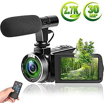 Video Camera Vlogging Camera with MicrophoneFull HD 1080p 30fps 24.0MP Video Cam