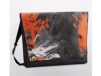 Mens Calvin Klein Messenger Bag Riley City Carry All Leather Gray Orange