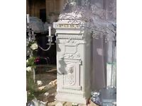 Vintage white metal wedding postbox with gold