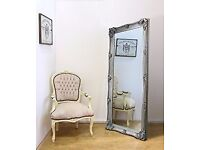 New Silver Ornate 5.5ft Abbey Leaner Mirror Half list price £99