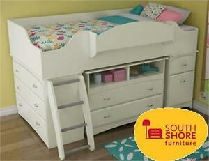 NEW* SOUTH SHORE LOFT BED W/STORAGE TWIN SIZE LOFT BED   - PURE WHITE Furniture : Kids Room