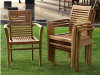 Teak Garden Furniture Stacking Chairs