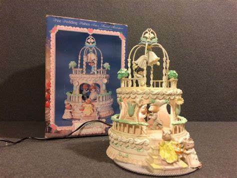 RARE Enesco Wee Wedding Wishes Multi-Action/Lights Music Box In Box