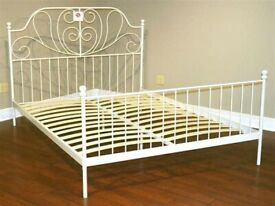 White metal Ikea double bed LEIRVIK,