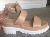 Ladies Nude and White Sandals / Shoes
