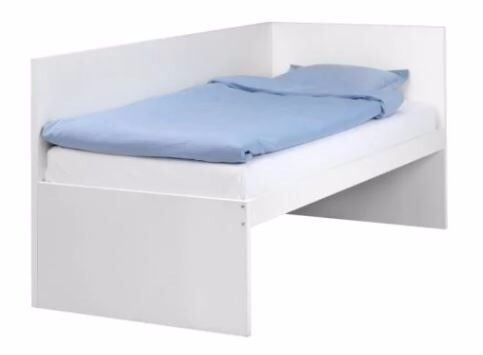Bed frame with headboard and mattress