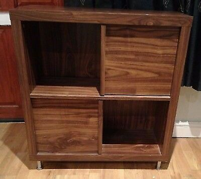 2x2 Similar To Ikea Kallax   Tribeca Cube Storage Unit With Legs And Doors  Walnut Effect
