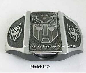Transformer Decepticons Bull Poker Skull Men's Lighter Buckle Black Leather Belt