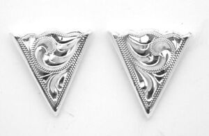 NEW! Western Collar Tips - Engraved - Silver Plated