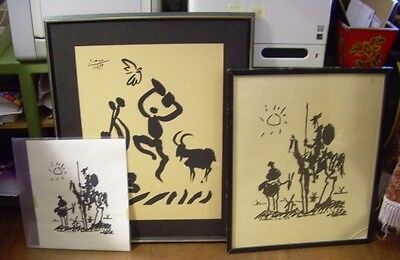 3 Vintage Picasso Prints HOLLYWOOD ESTATE 1955 Don Quixote 1959 Musicians w Goat