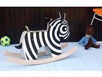 Brand new wooden rocking zebra