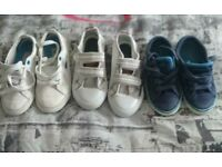 children's shoes size 7 and 6. white 7 and blue 6