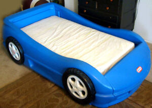 toddler car bed- blue with mattress