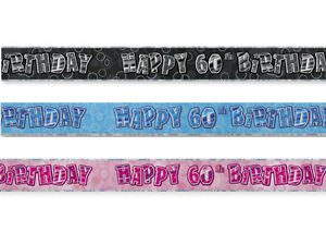 12Ft Foil Wall Happy Birthday Glitz Banner 13th-100th Party Decorations all here