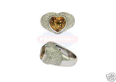 18K WG Lds Pave Diamond Citrine Heart Ring