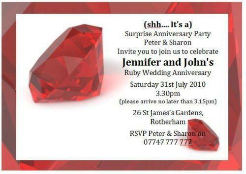 Surprise Wedding Anniversary Invitations: Ruby Wedding Invitations