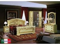 Versace Greek key Design italian bedroom set with 4 door wardrobe, Aida