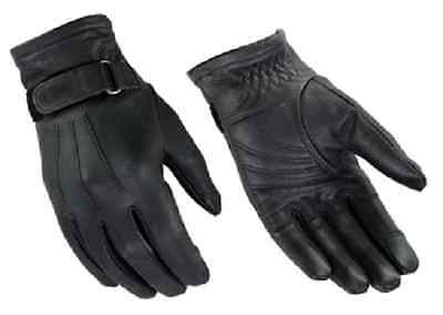 Womens Premium Black Genuine Leather Classic Wrist Strap Motorcycle Riding Glove Black Womens Bike Glove