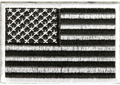 LOT OF 2 - SUBDUED BLACK AND WHITE AMERICAN FLAG EMBROIDERED PATCH