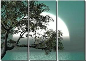 3011-Brand new, Sun behind the  Sea and tree, Hand made