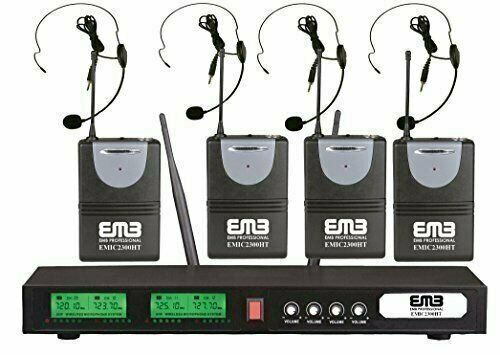 EMB UHF EMIC2300HT Professional Quad / 4 x Wireless Headset Microphone System