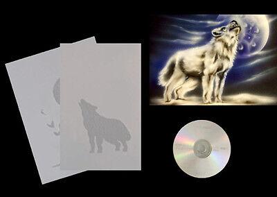Step by Step Airbrush Schablone  450 Wolf mit Mond und Anleitung