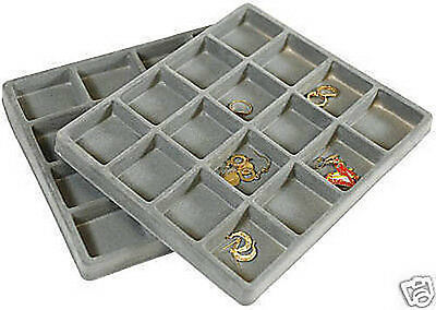 2-16 Compartment Gray Display Tray Organizer Inserts Travel Section Case Trays