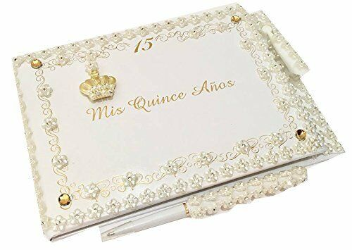 Mis Quince Anos Quinceanera Crown Guest Book with Pen Set