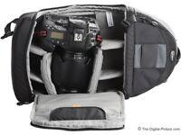 LowePro SlingShot 200 AW Camera Backpack Shoulder Bag w/ Rain Cover - Black