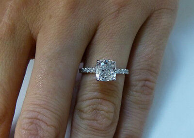 1.30 TCW Natural Cushion Cut Pave Diamond Engagement Ring - GIA Certified