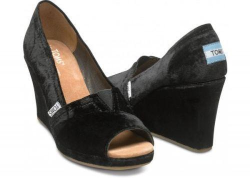 Black toms wedges women 39 s shoes ebay for All black piscine wedges