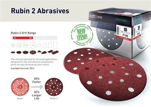50 Pack - Festool STF D150/16 P120 RU2/50 Wood Sanding Discs RUBIN 2 - 499121
