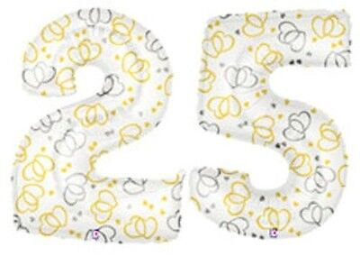 2 pc 25th Wedding Anniversary Number Balloons Event Decorations Party Hearts